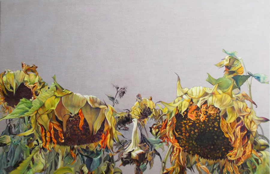 """Mary Warner,""""Sisters""""sunflower series, 40"""" hx60""""w, oil on linen"""